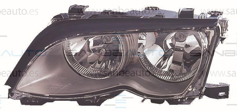 BMW E46 01-*FARO IZQ CON REGULACION (INTERIOR NEGRO) (4P)