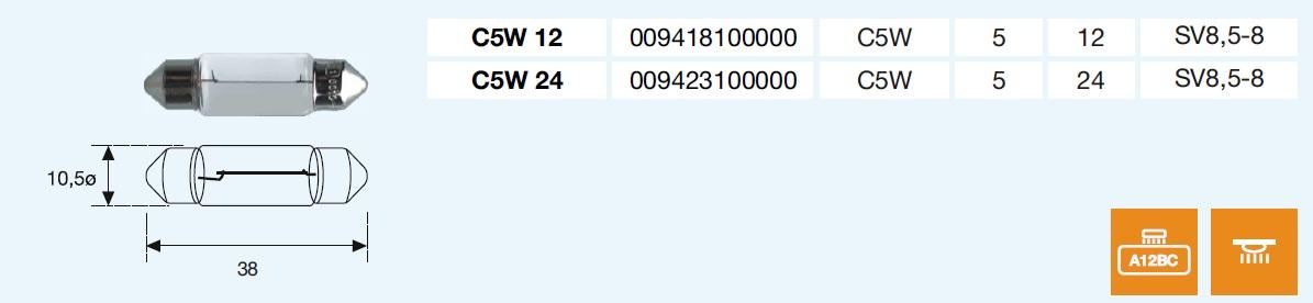 PLAFONIER C5W 12/5-SV8,5-8