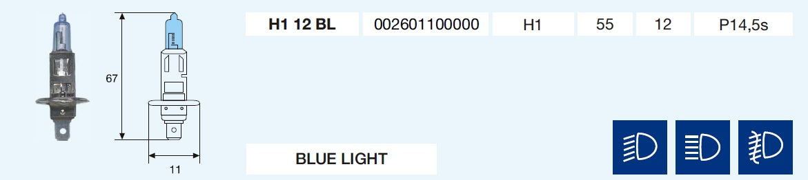 H1 BLUE LIGHT 12/55-P14,5s
