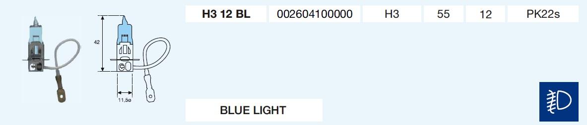 H3 BLUE LIGHT 12/55-PK22s
