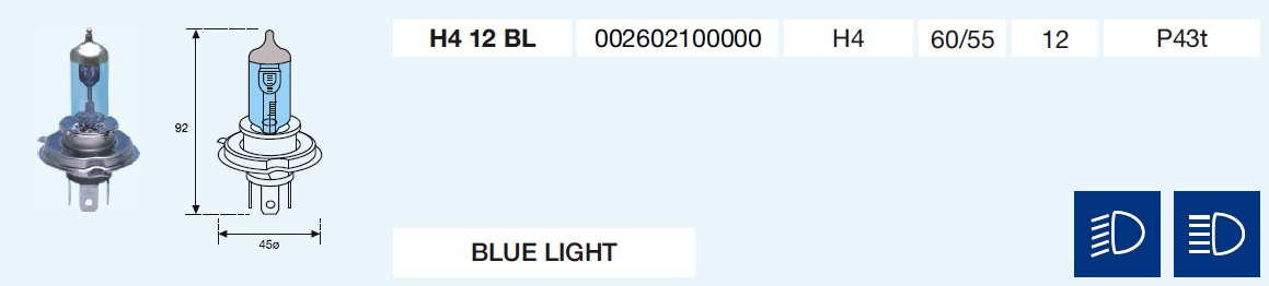 H4 BLUE LIGHT 12/60/55-P43t
