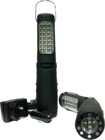 LAMPARA TALLER SALKI PORTATIL 26 LEDS RECARGABLE ARTICULADA 8780203 12V NiMh