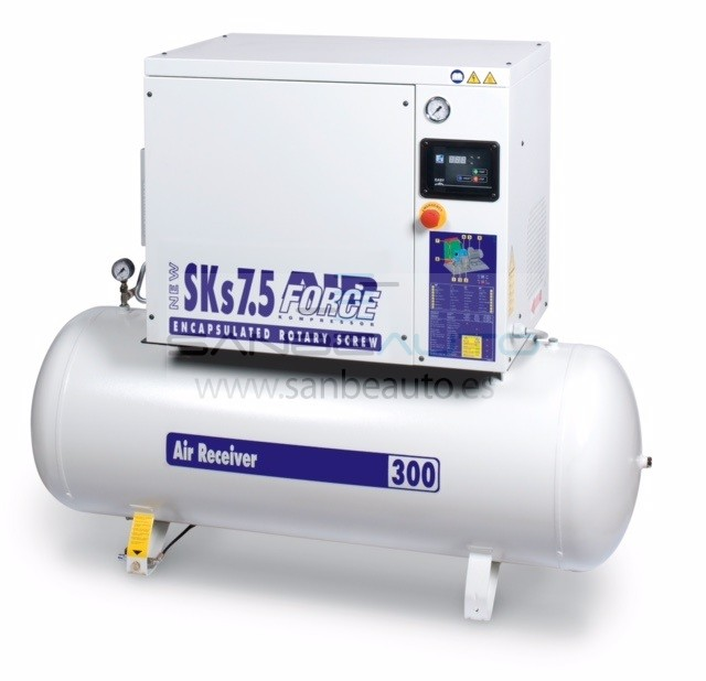 Compresor de tornillo insonorizado con secador calderín 270L 720l/min 10bar 7,5cv 400V/50Hz/3Ph