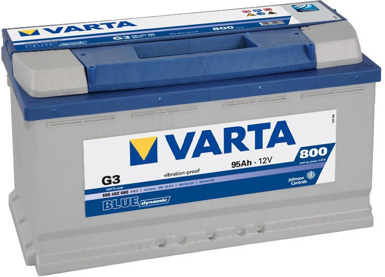 BATERIA VARTA BLUE 95AH 800(CAPACIDAD DE ARRANQUE) POSITIVO DCH 353x175x190