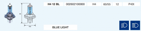 H4 BLUE LIGHT 12/60/55-P43t